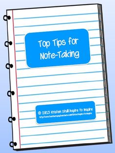 "FREEBIE This printable is a ""Beginner's Guide"" to note-taking. It introduces how to take meaningful notes, paraphrase, and cite sources with a focus on note-taking from written materials and Web sites. A definition and examples of plagiarism are included as well. Great to use for mini-lessons and to complement to research projects."