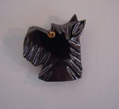 Shultz bakelite black carved Scotty brooch