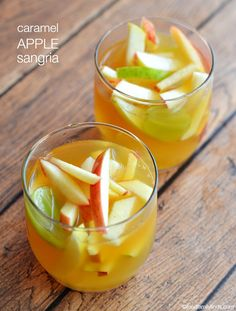 Caramel Apple Sangria Recipe #MirassouSummer: Nothing says goodbye summer and hello fall like a sweet and crisp pitcher of Caramel Apple Sangria.