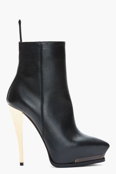 LANVIN Black leather gold-heeled ankle boots