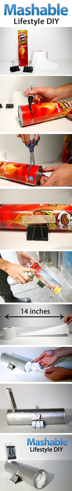 Create your own amplifying phone speaker out of a Pringles can! Click for directions and a demo video.