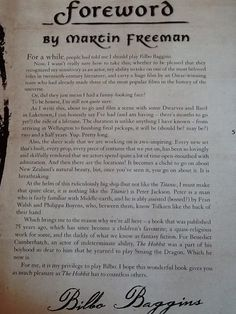 Foreword by Martin Freeman. He is just too adorable for words! He mentions Ben!! He ALWAYS mentions Ben! AH!