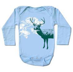 Organic ight blue DEER baby bodysuit