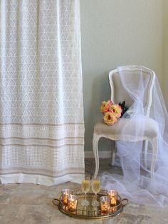 Bridal Veil ~ White and Gold Elegant Romantic Curtain Panel
