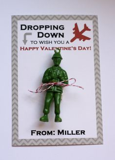 Boy Personalized Paratrooper Valentine Card- Dropping Down to Wish you a Happy Valentine's Day-DIY Printable. $5.00, via Etsy.