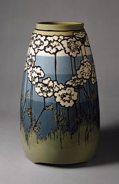 "vase in the Arts & Crafts style by Sara Galner, 1915; ""The Saturday Evening Girls Club was formed as an organization to educate and train immigrant girls of Boston. The Paul Revere Pottery was established to provide an income to young women through the creation of dynamic pottery."" Some, like Ms. Glasner, progressed to a more sophisticated style."