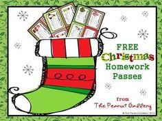 {freebie} Cute homework passes for the Christmas season:)