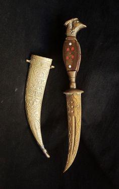 Old/Vintage Arabic Syrian Art-Souvenir Decorative Knife Dagger With Eagle Head