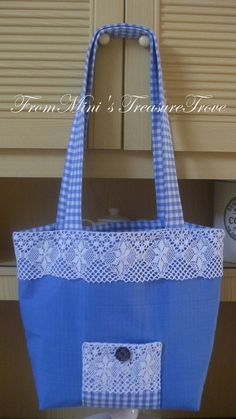 Mini's Treasure Trove: BLUE N WHITE GINGHAM TOTES N ACCESSORIES