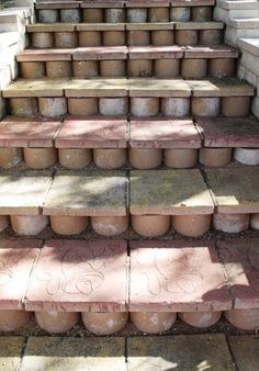cool step risers made from terracotta pipes, spotted in Tucson