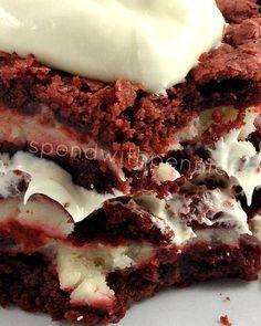 Cheesecake Filled Red Velvet Brownies