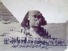 Scottish soldiers at the sphinx of Giza after their victory in the Battle of Tel-el-Kebir during the Anglo-Egyptian conflict for control of the Suez Canal.  1882