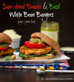 Sun-dried Tomato & Basil White Bean Burgers #vegan #glutenfree via arismenu.com