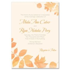 Autumn Wedding Invitation by The Green Kangaroo, Inc.