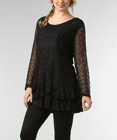 Look at this #zulilyfind! Black Crochet Tiered Tunic #zulilyfinds