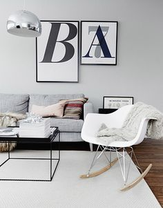Via Husligheter   Playtype A7 and B Print   Eames Rocker   Grey White