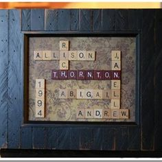 #DIY wall art out of Scrabble pieces @Taylor Johnson your family needs this