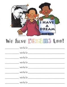 Classroom Freebies: Martin Luther King I Have A Dream Too Poster