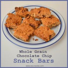 Eco-novice: Whole Grain Chocolate Chip Snack Bars with white whole wheat, rolled oats, and nuts. Sweetened with honey.