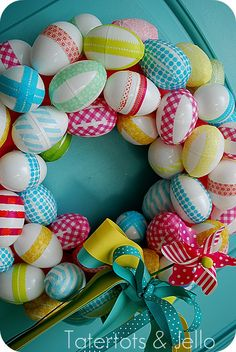 washi tape Easter egg wreath from Tatertots & Jello