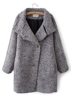 Grey Plain Turndown Collar Wool Blend Trench Coat