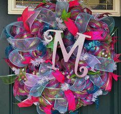 Spring/Summer Ribbon Deco Mesh Wreath
