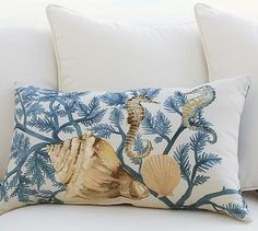Painted Blue Coastal Outdoor Lumbar Pillow #potterybarn