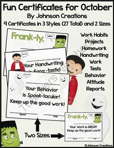 """Fun Certificates for October from Johnson Creations on TeachersNotebook.com -  (56 pages)  - These can be used by teachers or principals. There are 9 different certificates in 3 styles (27 total). There are certificates with a friendly Frankenstein, Dracula, and ghost. Each comes in 2 sizes (11"""" x 8.5"""" and two smaller ones on a sheet) f"""