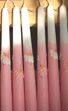 Taper Candles Hand Painted Three Pink Taper by LessCandles. €6,50, via Etsy.