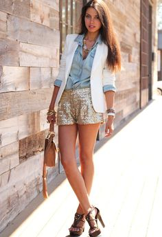 denim shirt, gold shorts and white blazer
