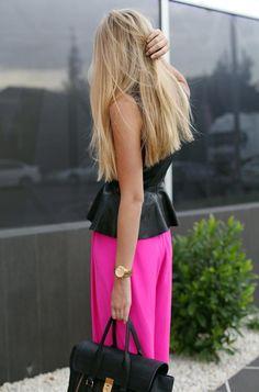 Hot pink w/ black