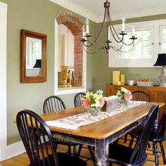 Love this sage green for a kitchen!  Must be my mother's daughter =)