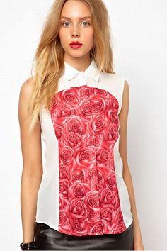Camisa estampada con rosas