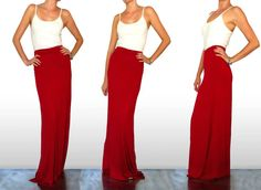 Red Jersey Maxi Skirt by SarahLMeyers on Etsy, $39.00