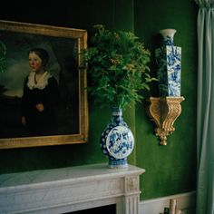 via Carla Aston: green walls and blue and white