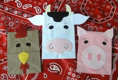 Farm animal bags. Children make their own farm animal bag puppet and then put on a puppet show. They will use creativity to come up with their own script and story. A puppet show created by the children is DAP.