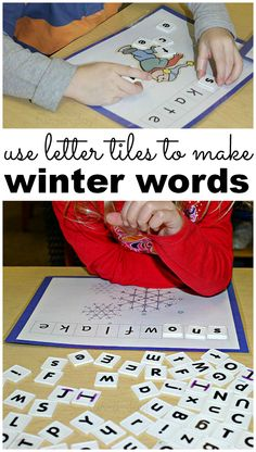 Making Winter Words in Preschool from www.fun-a-day.com -- includes a link to free printables