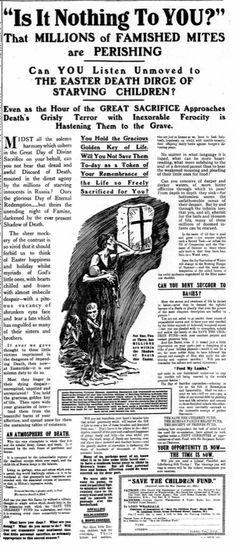 Save the Children Fund. 13 April, 1922.