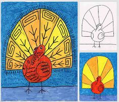 line drawings, thanksgiv, art lessons, abstract art, turkey