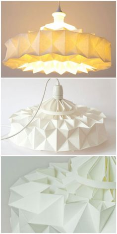 Lamp from Wall Paper #Lamp, #Light, #Organic, #Origami, #PaperBooks, #RecycledArt