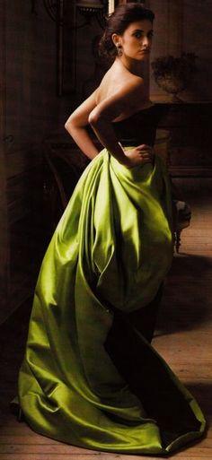 Penelope Cruz in a beautiful green silky gown.