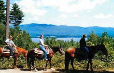 Horseback riding, trail rides overlook scenic Lake George.