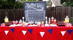 Backyard baseball party table