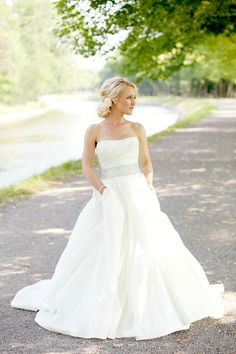 Silver belt bridal gown