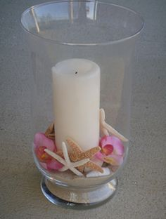 Beach Theme Wedding Shell and Candle Centerpiece Kit - Pink