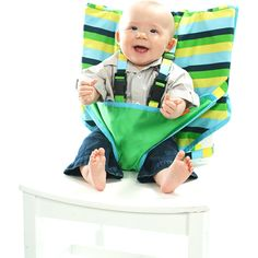 Seriously the coolest thing I have ever seen. Instant high chair that can fit in the diaper bag. Dope.