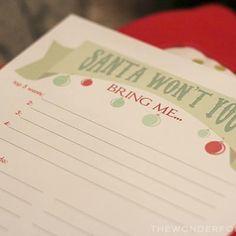 Printable: Christmas Wish List - #christmas #printable