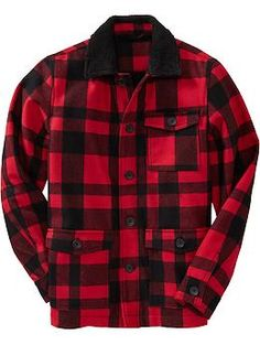 Men's Plaid Wool-Blend Barn Coats | Old Navy