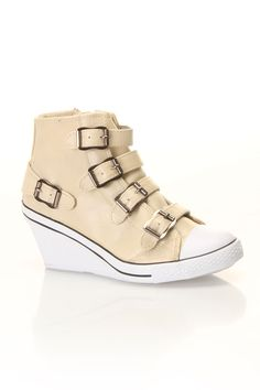 Bucco Angel Wedge Sneakers In Beige - Beyond the Rack