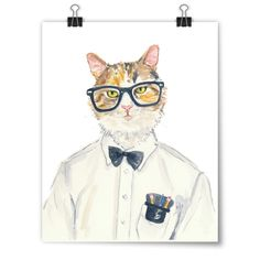 """My Cat is a Nerd"" Deidre Wicks Toronto, Ontario, Canada  Available to purchase in our Winter Exhibit: http://pussiesonparade.com/exhibits/  #cat #cats #catart #kitten #kitty #kitties #art #illustration #painting #nerd"